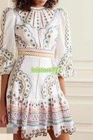 2021 kadın Kızlar Tığ A-Line Gömlek Elbise Çiçekler Ile Nakış Yüksek Sonu Özel Yaz Pist Kısa Kollu Tee T-shirt Uzun Elbiseler