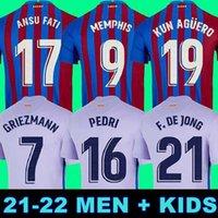 Camisetas de Football Kun Aguero Barcelona Soccer Jersey Barca FC 21 22 Ansu Fati 2021 2022 Grizmann F.de Jong Dest Pedri Kit قميص الرجال Kids Memphis Sergio Coutinho Top