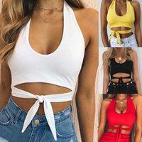 Mulheres Sexy Crop Tops Low-Cut Vestcamisol camisa sem mangas com faixas de verão feminino moda curto tops 2021 y0606