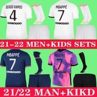 Mbappe Kean Soccer Jersey 21 22 Mailleots de Football Shirts 2021 2022 Sergio Ramos Verratti Kimpembe Men Kids Sets Offics Enfants الرابع مجموعات الكبار مع الجوارب
