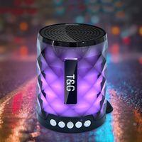 TG155 Pequeño Mini Portátil Bluetooth inalámbrico 4.2 Altavoces 3 pulgadas LED 6 Iluminación colorida Hi-Fi Caja de alta fidelidad 5W Manos gratis con MIC TF Card Audio FM Radio Subwoofer