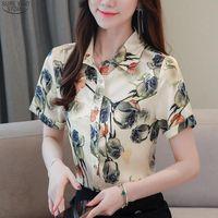 2021 Office Plus Size Imprimir Cardigan Mulheres Blusa Verão Verão Camisa de Seda de Silk Camisa das Mulheres Vestuário Floral Blusas Mujer 10070