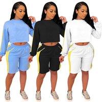 Yaz Giyim Kadın Joggers Suits Hoodies Şort 2 Parça Setleri Seksi 2XL Düz Moda Spor Casual Gömlek + Capris Spor Suit 4611