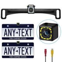 Cámaras de visión trasera Cámaras Sensores de estacionamiento Cámara Mini IP68 Frame de placa de matriz impermeable a prueba de agua Reverso 12 LED HD Vision Night Vision Auto Monitor