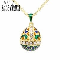 Pendant Necklaces Slide Charm White Crystal Green Wave Chart Russian Golden Egg Necklace