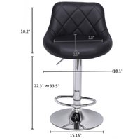 Modern Bar Stools High Tools Type, 2pcs Adjustable Chair Disk Rhombus Backrest Design Dining Counter Pub Chairs sea ship GWE9550
