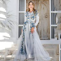 Luxury Dubai Muslim Floral Formal Evening Dresses Long Sleeves A Line Bride Reception Gowns Flowers Lace Appliques Floor Length Moroccan Kaftan Prom Dress 2022