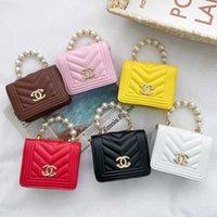 """Дети девушки жемчужные сумочки дизайнеры PU кожаные цепные сумки милые вечеринки ужин рука сумка маленький мини-размер принцесса crossbody fanty pack посланник плечо """"g50tg43"""