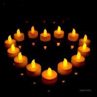 Yellow Colorful Ramadan decoration led candle flashing lamp Flameless Candles home decoration 1lot 24pcs T2I52176