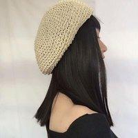 Berets Fashionable Designer Crochet Women Paper Straw Beret Spring Summer Hat Drop 2021 LL180594