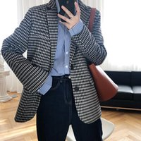 Blazers Vintage Blanc Blanc Femmes Plaid Imitation Bouton Bouton Grande poche 2021 Femme Spring Automne Bureau Dame Blazer