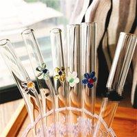 8pcs / set Creative Flower Paja Reutilizable Limpiador de bebidas Cepillo de vidrio doblado para batidos Té de jugo