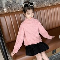 Pullover Girl Red Pink Autumn And Winter Children's Thick Sweater Knit High Neck Fashion Warm 8 10 12 Y