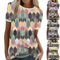 Women's T-Shirt Coat Geometric Pattern Printing Round Collar Short Sleeve