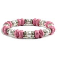 Perline, fili fascino donne braccialetto rosa naturale pietra braccialetti in rilievi strass cerchio cerchio braccialetti femmina catena corda corda amico regalo