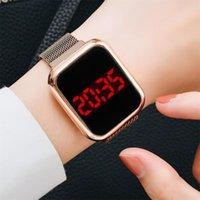 WristWatches Moda LED Display Mulheres Relógio Digital Ímã Fivela Presentes Relógios Luxo Aço Inoxidável Malha Malha Feminino Relogio