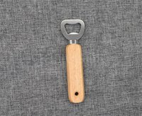 Stainless steel wooden Openers handle Red wine beer bottle opener Dining Kitchen Tools With and without holes DD082
