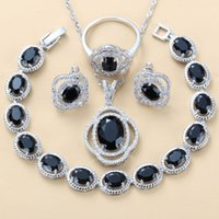 Earrings & Necklace Women Costume Fashion Jewelry Sets Silver Color Natural Black Stone CZ Bracelet And Ring 12-