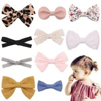 Hair Accessories 1Piece Leopard Printed Bows Clips For Cute Girls Lace Handmade Hairpin Boutique Barrette Headwear Kids