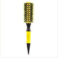 شحن مجاني خشبية فرشاة الشعر مع الخنزير brisle mix النايلون أدوات التصميم المهنية جولة فرشاة الشعر GIC-HB505 (6 قطعة / المجموعة) 210302