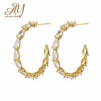 Stud Anillos Yuzuk Fashion 925 Sterling Silver Shining Clear Zircon Earrings For Women Wedding Gold Fine Jewelry