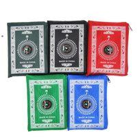 Islamic Prayer Carpets Portable Braided Mat Zipper Compass Blankets Travel Pocket Rug Rectangular Waterproof Carpet 5 Colors OWF7430
