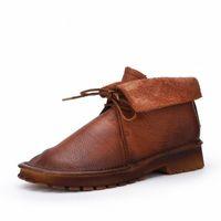 Johnature Genuine Leather Platform Boots Lace Up Round Toe Women Shoes 2019 Novo Inverno Flat com Costura Botas do tornozelo B7QS #