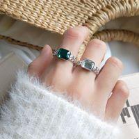 Cluster Rings Elegant Quality 925 Adjustable Vintage Fashion Zircon Twist Geometric Ring Sterling Silver For Women