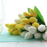 Cabeza de 7 piezas tulipán de tulipán modelo tulipán brote escena flor decorativa flor guirnalda para hacer