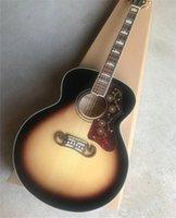 Top Quality Solide Solid Spirua 43 Pouce Sj200 Tabac Sunburst Guitare acoustique Coupe de Pataway Touche Touche Acahogany Cou Érable Retour arrière