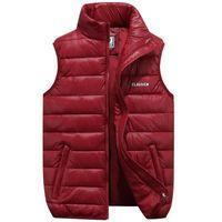 Men's Vests Down 4 Color Winter Jackets Waistcoat Men Fashion Sleeveless Solid Zipper Coat Overcoat Warm Plus Size S-6xl