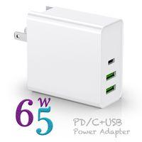 PD65W 충전기 Type-C USB-C 전원 어댑터 3Port PD30W QC3.0 아이폰 노트북을위한 충전기 PD QC 3.0