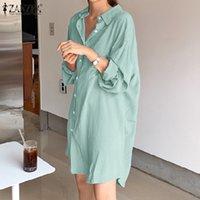 Платье плюс размер Zanzea женщины сплошной стильная рубашка одолжитель подсолнечника часы повседневные длинные Mouw министидо женская кнопка реверс реверсский шкаф 5xL 7