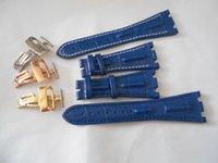 Bracelet en cuir véritable de qualité supérieure avec boucle de fermoir de déploiement pour les bretelles APOP APOK 28mm noir noir bleu