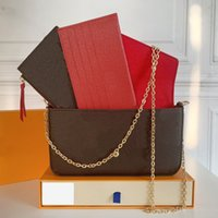 Womens Clutch Felicie Pochette 가방 상자 럭셔리 디자이너 핸드백 지갑 hobo 3 조각 콤비네이션 멀티 functiona 지갑 어깨 크로스 바디 골드 체인 토트 백