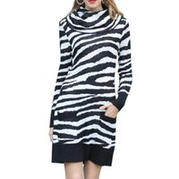 Günlük Elbiseler Balıkçı Yaka Uzun Kazak Kadınlar 2021 Sonbahar Kış Kadın Zebra Desen Örme Elbise Moda Kazık Yaka Çizgili Kazak
