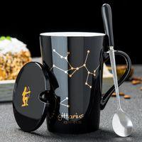 세라믹 머그컵 12 별자리 숟가락 뚜껑이있는 크리 에이 티브 받이 블렛 뚜껑 검은 색과 금 도자기 조디악 밀크 커피 컵 Drinkware
