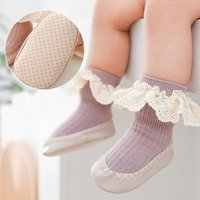 Socks Lawadka 2021 Born Baby With Rubber Soles Fashion Lace Infant Girls Shoes Anti Slip Soft Floor Toddler Sock 0-24M