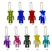 New Brick Bear Push Fidget Toy Keychain Ring Adult Children Squishy Novelty Stress Autism Squeeze Toys Kawaii Car Keyholder Kids Gifts