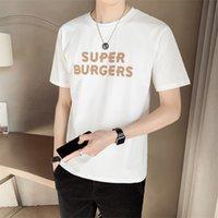 Nuova Moda 2021 Vero De Manga Curta Masculina Casual T-shirt O-Pescoo Carta Imprimir Fino Ajosse Algodo T Camisa Homme Todo O Jogo ConfortVell