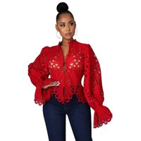 Ethnic Clothing African Clothes For Women 2021 Long Sleeeve Hollow Out Mesh Lace See Through Top Blouse Africa