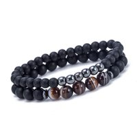 6mm 8mm 2pcs Set Natural Stone Strands Charm Bracelets For Men Beaded Valentine's Day Jewelry Party Accessories