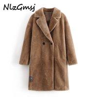 NLZGMSJ Bayan Ceket Bayanlar Faux Vizon Kürk Dış Giyim Uzun Ceket Gevşek Sokak Tarzı Sıcak Palto Sonbahar Kış 210222