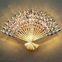 Lámpara de pared Luces de forma moderna Forma de fan Lámparas de cristal europeas Lámparas de Corredor Dormitorio de la cama LED LED Aplique Light Fixtures Decoración