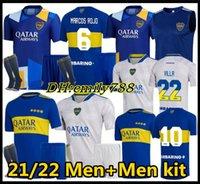 2021 2022 Boca Juniors Soccer Jersey Home Soccer Chrients Cristian Pavon Tevez Salvio Abila De Rossi Carlitos 21 22 Boca Juniors السراويل + الجوارب كرة القدم كرة القدم