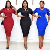 Kırmızı Siyah Mavi Elbise V Yaka Kısa Kollu Katı Klas Kadın Elastik Zarif Ofis Bayan Mütevazı Kadın Afrika Moda Elbiseler Y0118