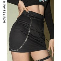 Skirts BOOFEENAA Gothic Fashion Black Woman 2021 Summer Cute Bottoms Trendy Clothes For Women Chain Sexy Mini Skirt C94-AB24