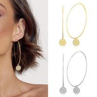 Dangle & Chandelier Silver Plated Women's Fashion Exaggerated Hoop Pendant Earrings Charm Dinner Wedding Party Jewelry Accessories