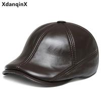 Береты xdanqinx Весна натуральный натуральный кожаный колпачок первого слоя коровьей теплым для мужчин Наушники шапка регулируемые размеры бренды