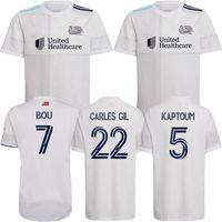 2021 Revolution Homens MLS Futebol Jerseys 2022 Bou 7 # Carles Gil 22 # Kaptoum 5 # Buksa 9 # 21/22 Fora Branco Camisa de Futebol Uniforme de Manga Curta